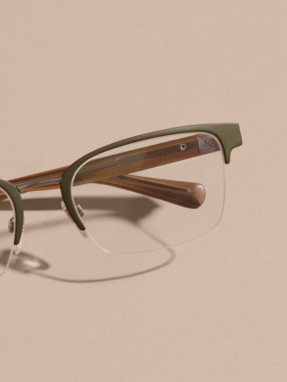 Half-rimmed Rectangular Optical Frames Olive - cell image 2