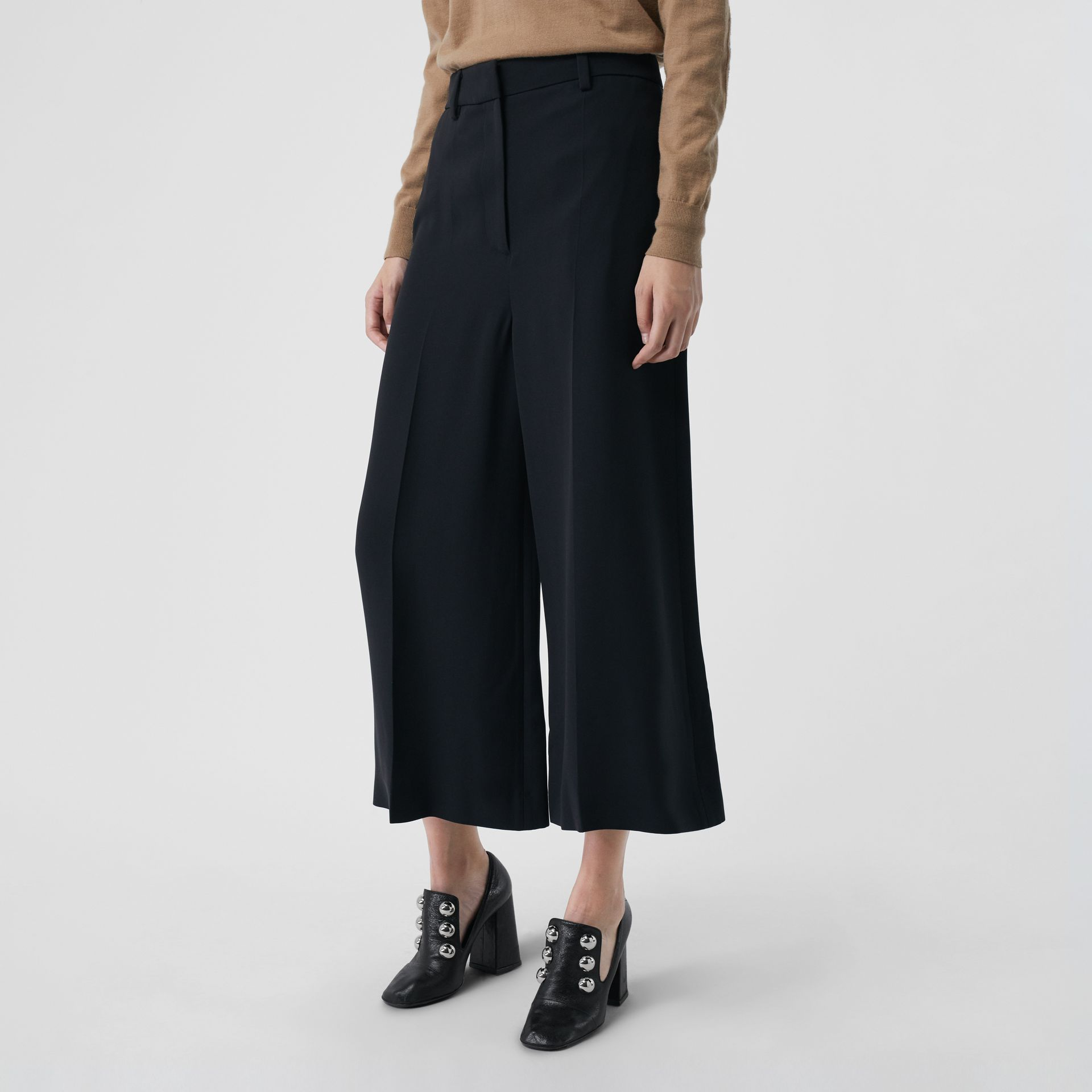Silk Wool Tailored Culottes in Black - Women | Burberry - gallery image 4