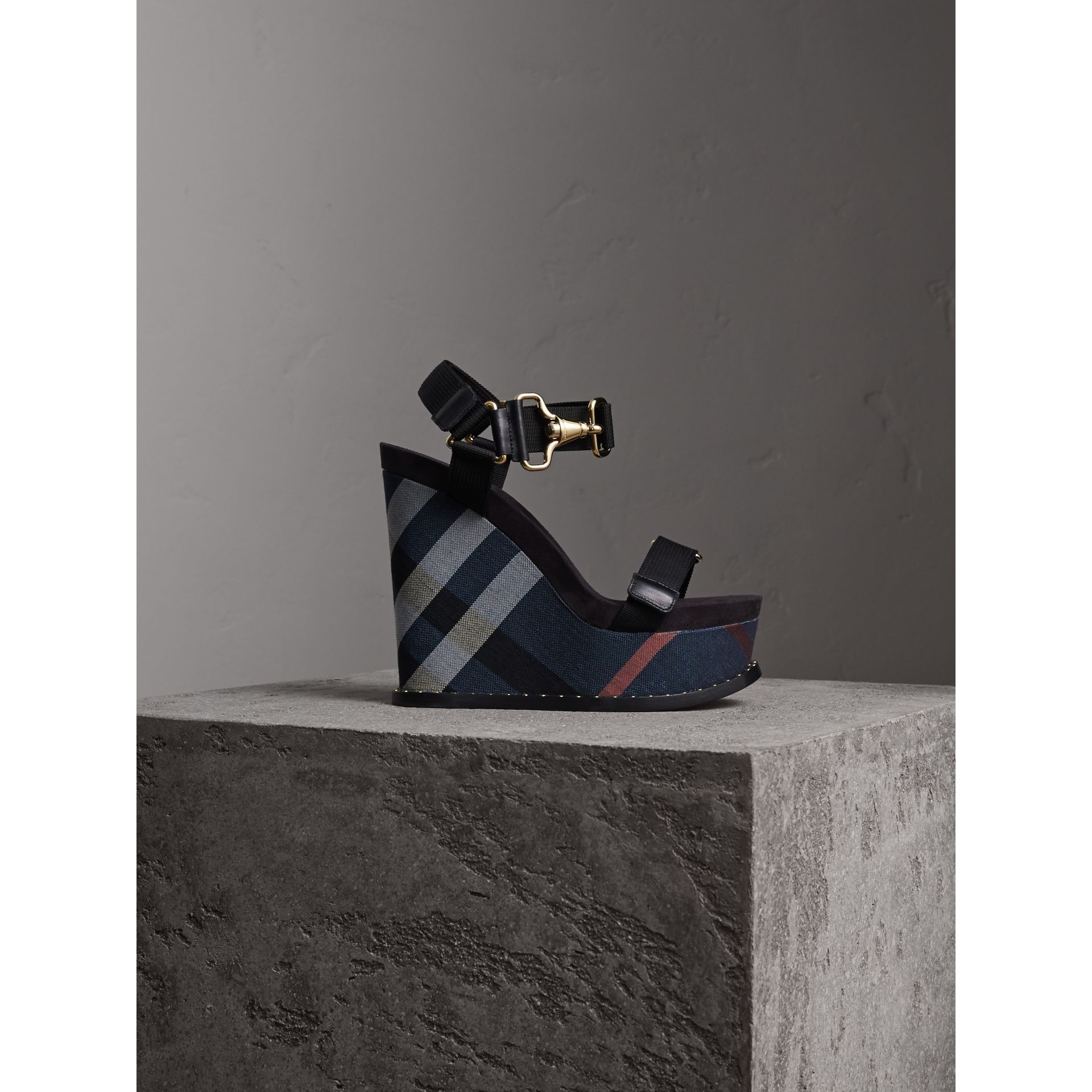 Hardware Detail Ripstop and Check Wedge Sandals - Women | Burberry - gallery image 1