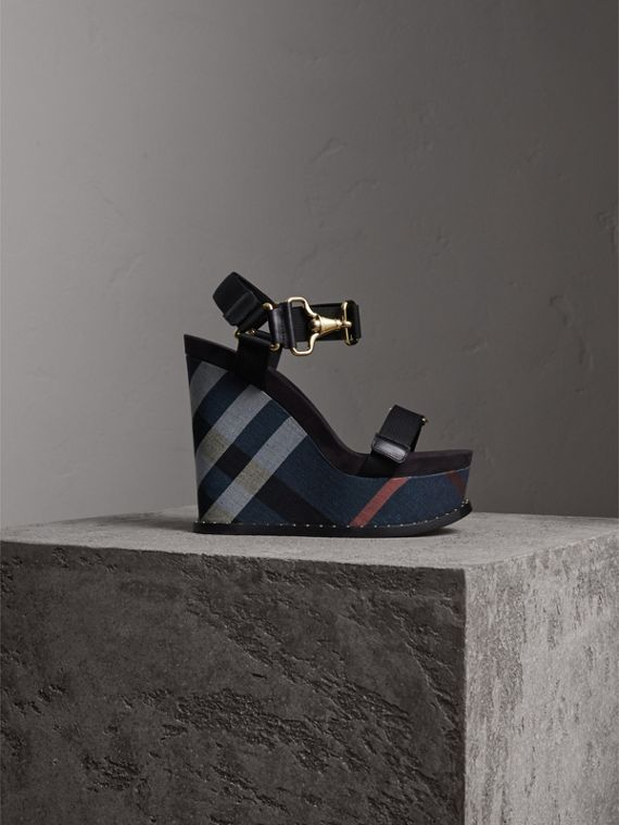 Hardware Detail Ripstop and Check Wedge Sandals - Women | Burberry