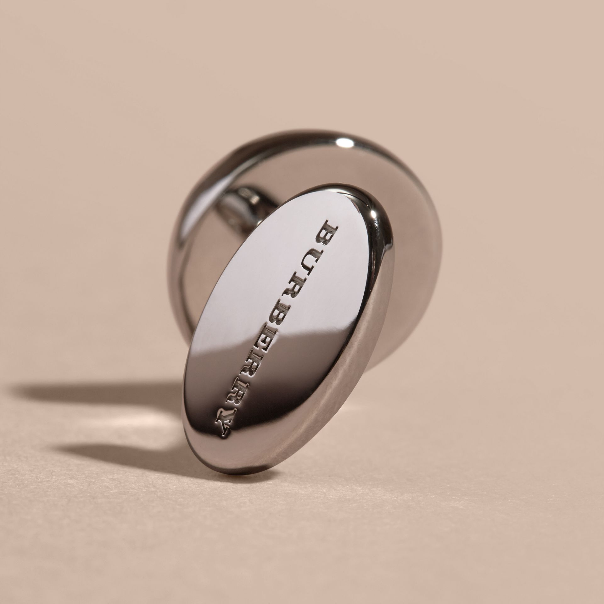 Check-engraved Round Cufflinks in Silver - gallery image 3