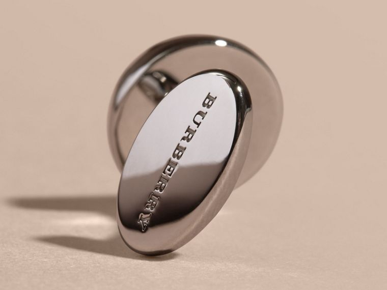 Check-engraved Round Cufflinks in Silver - cell image 2