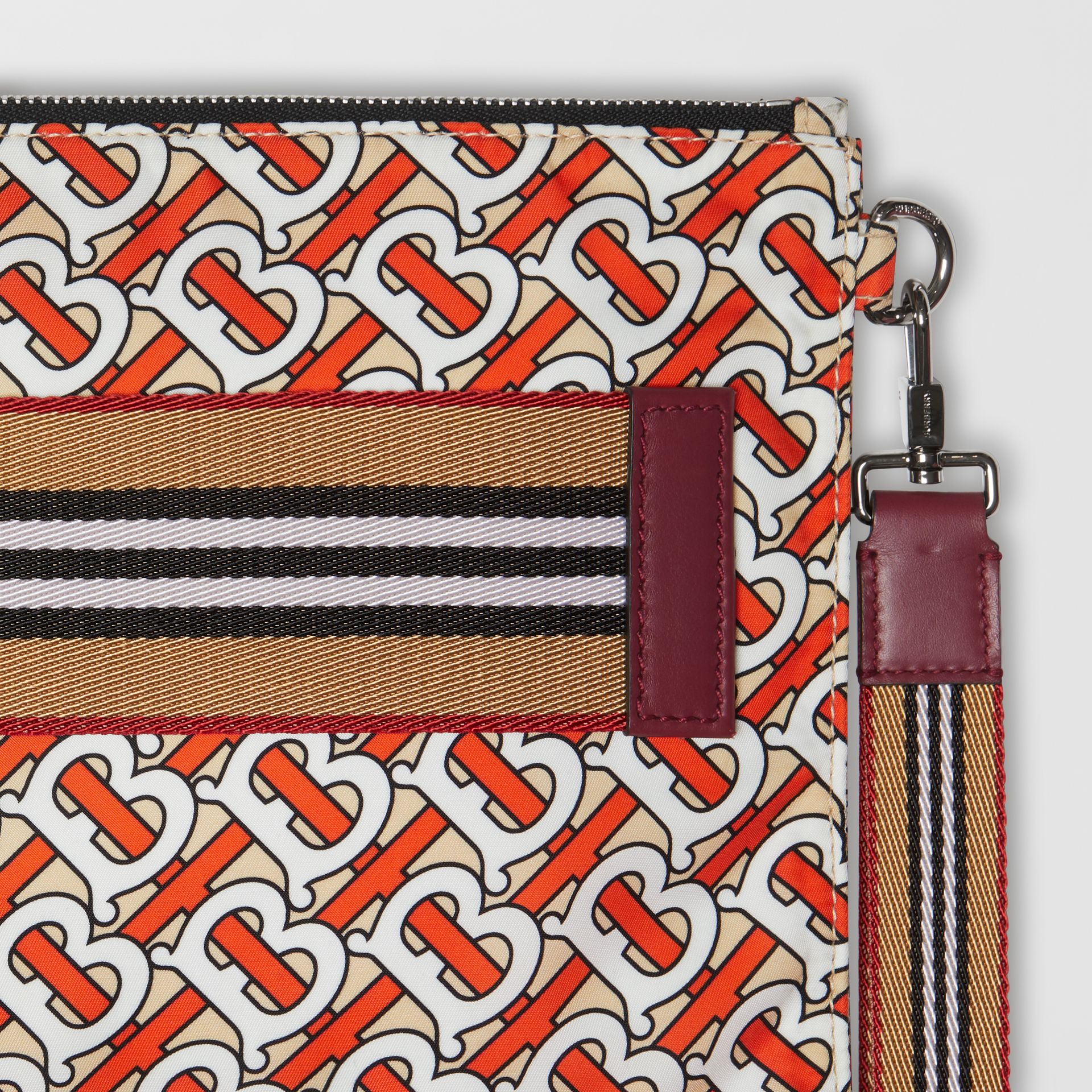 Monogram Print Zip Pouch in Vermilion | Burberry - gallery image 1