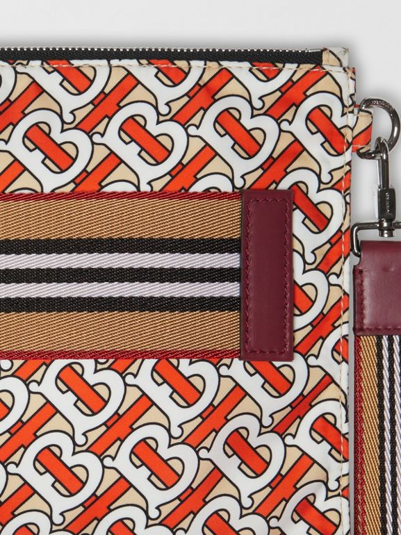 Monogram Print Zip Pouch in Vermilion | Burberry - cell image 1