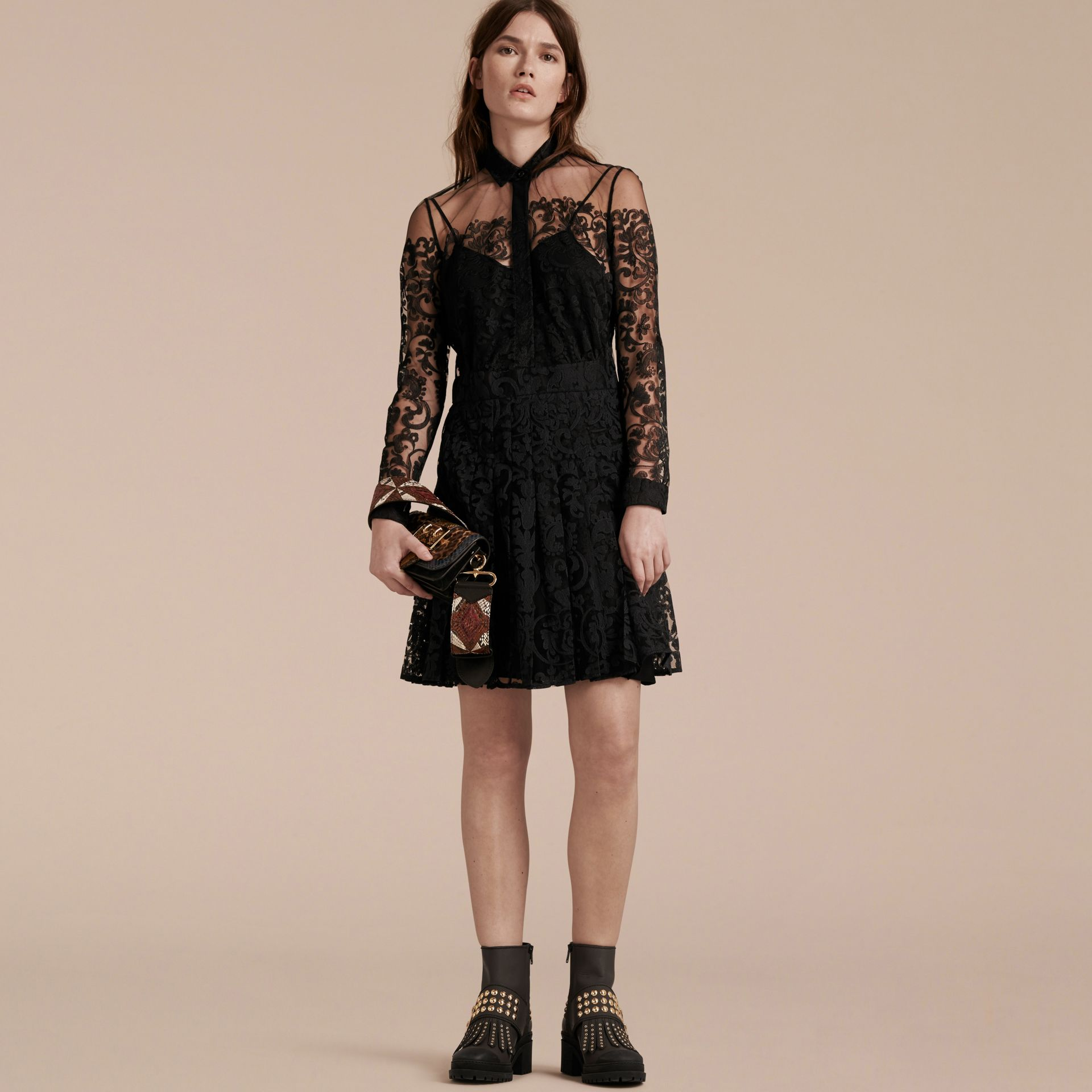 Black Lace Shirt Dress - gallery image 7
