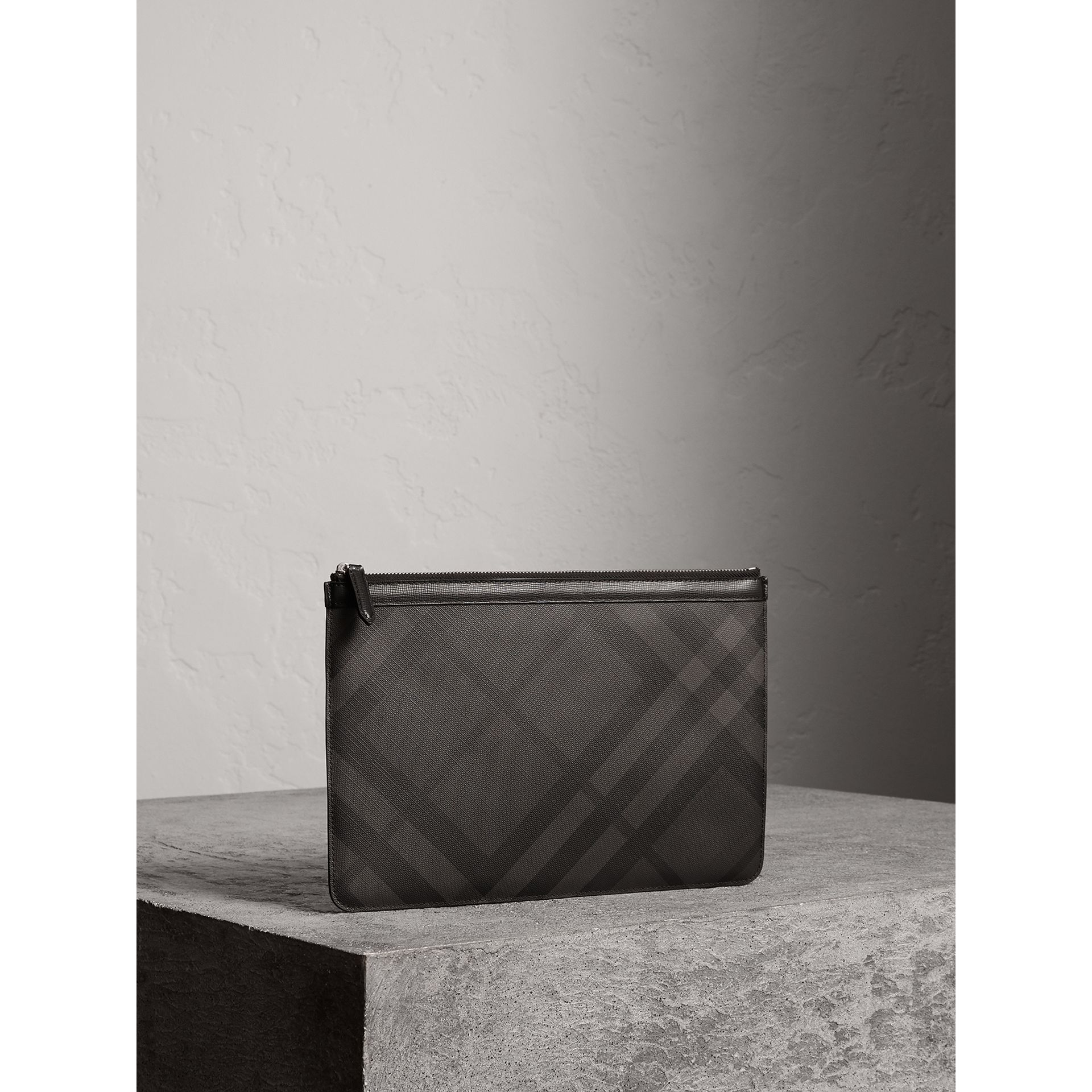 Zipped London Check Pouch in Charcoal/black - Men | Burberry - gallery image 5