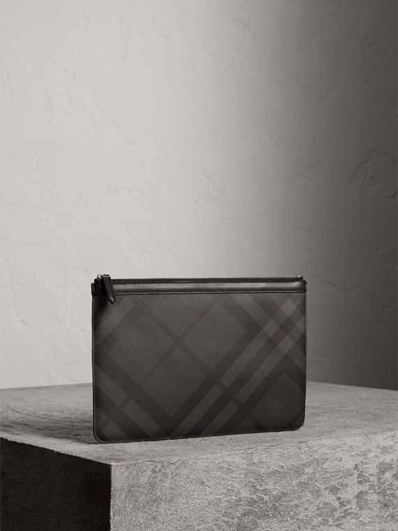 Zipped London Check Pouch in Charcoal/black - Men | Burberry - cell image 3