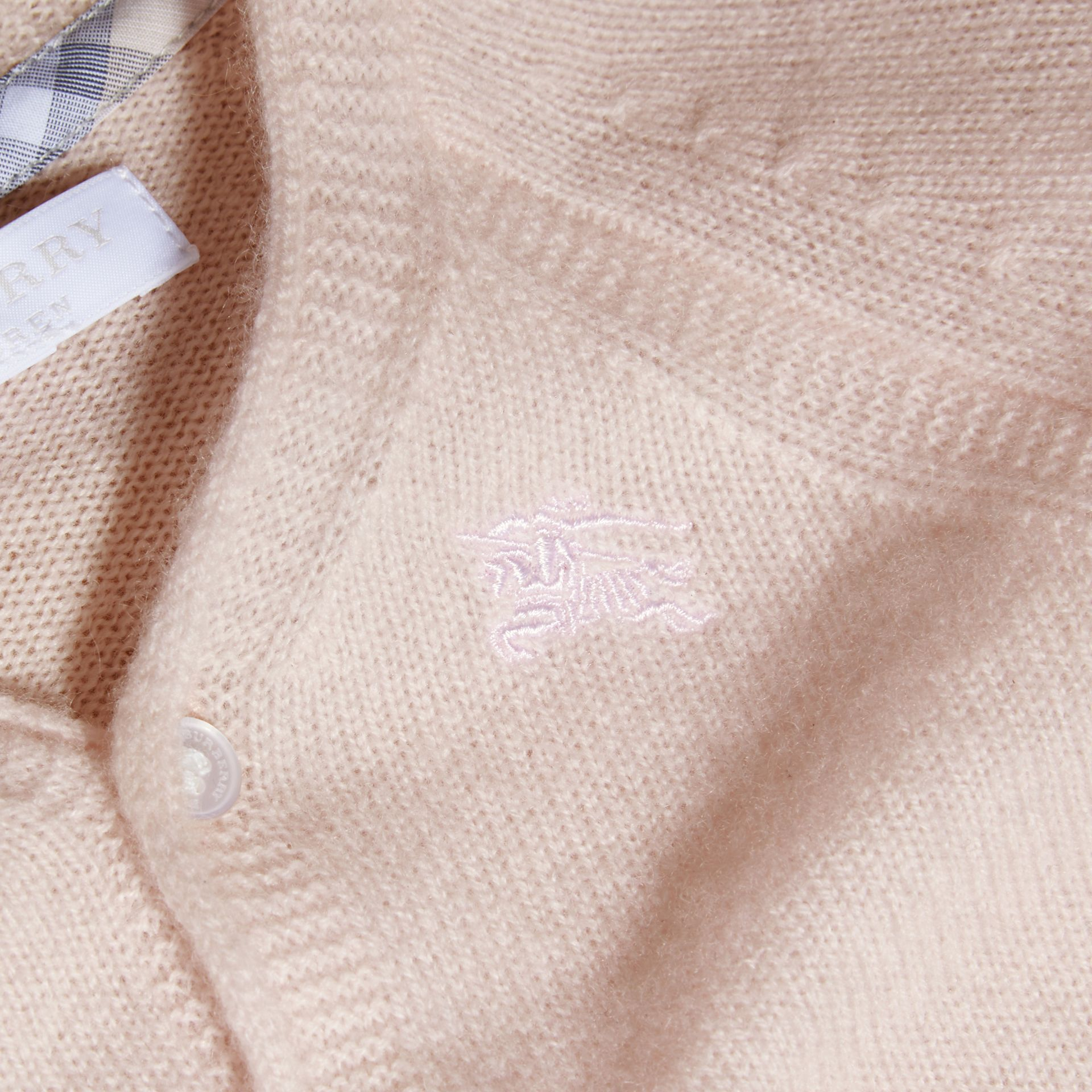Classic Cashmere Cardigan in Powder Pink - gallery image 2