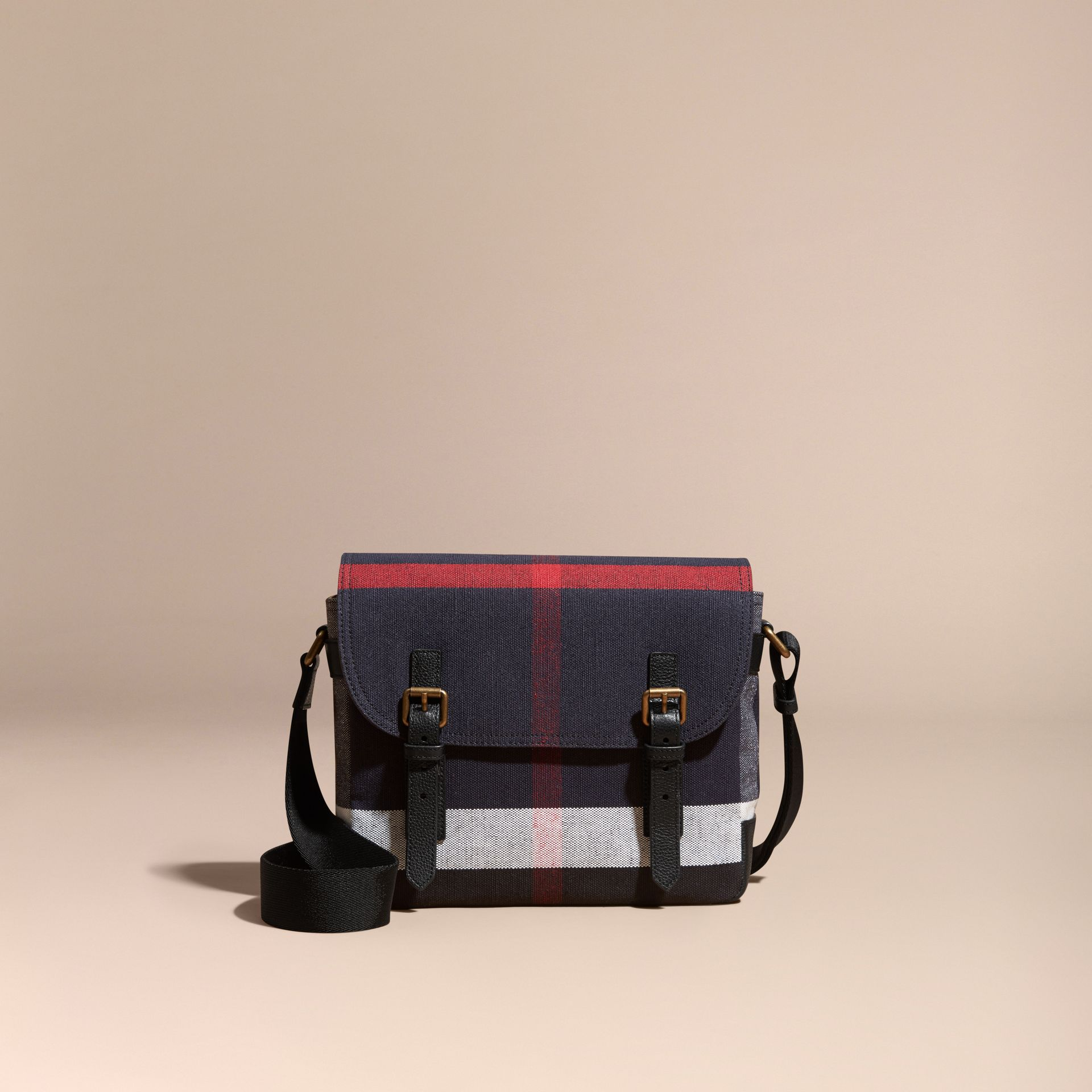 Small Canvas Check Messenger Bag in Black - Men | Burberry - gallery image 8