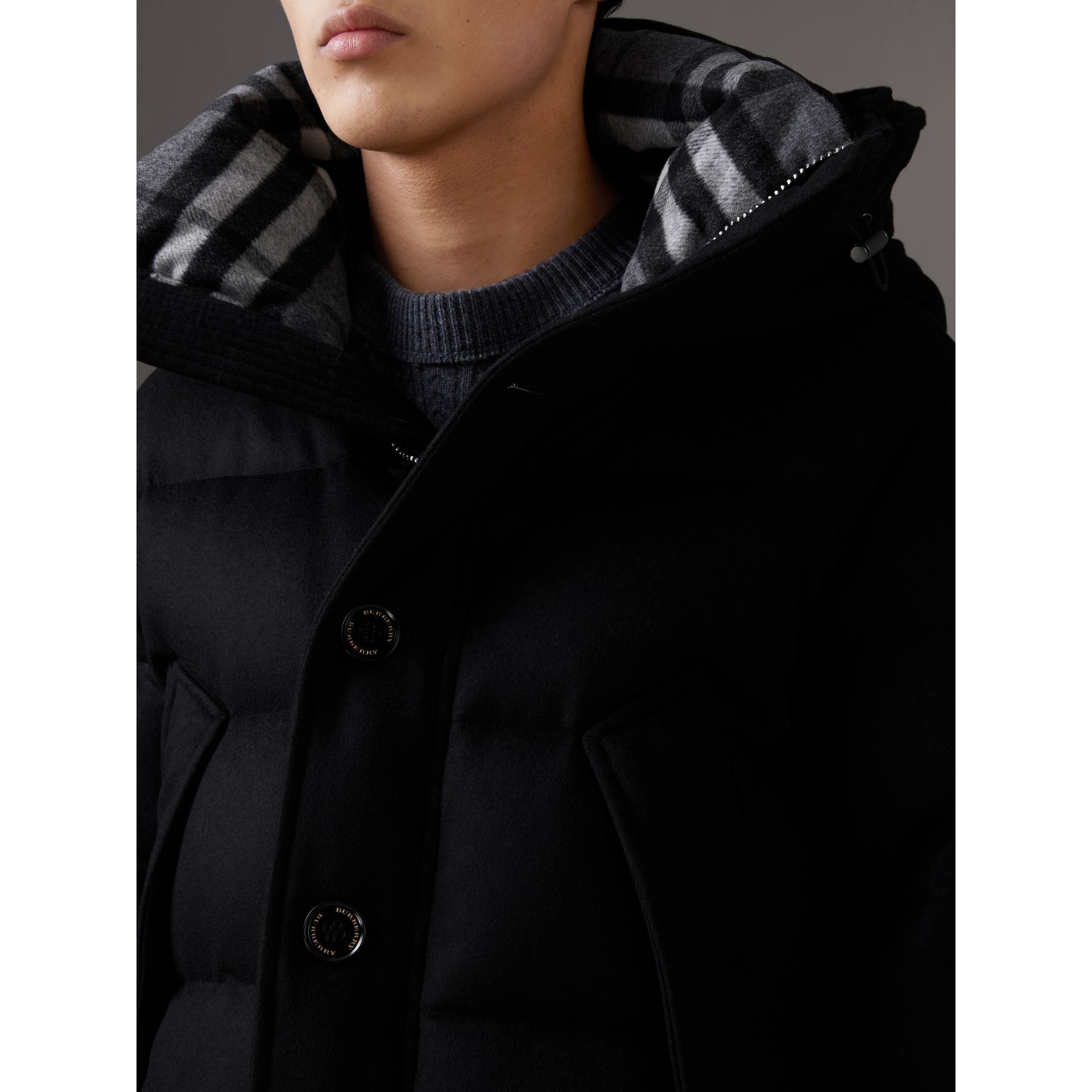Short Detachable Fur Trim Cashmere Puffer Jacket in Black - Men | Burberry - gallery image 5