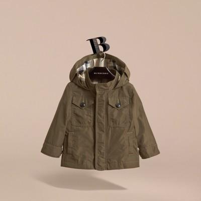 Hooded Lightweight Shape-Memory Field Jacket in Khaki - Children ...