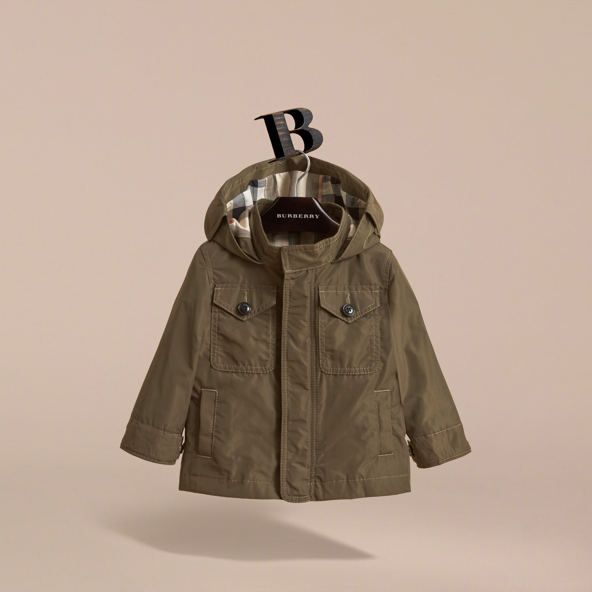 Hooded Lightweight Shape-Memory Field Jacket in Khaki - Children ...