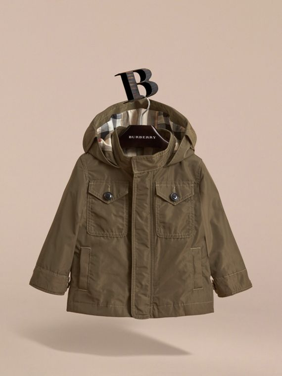 Hooded Lightweight Shape-Memory Field Jacket in Khaki - Children | Burberry Australia - cell image 2