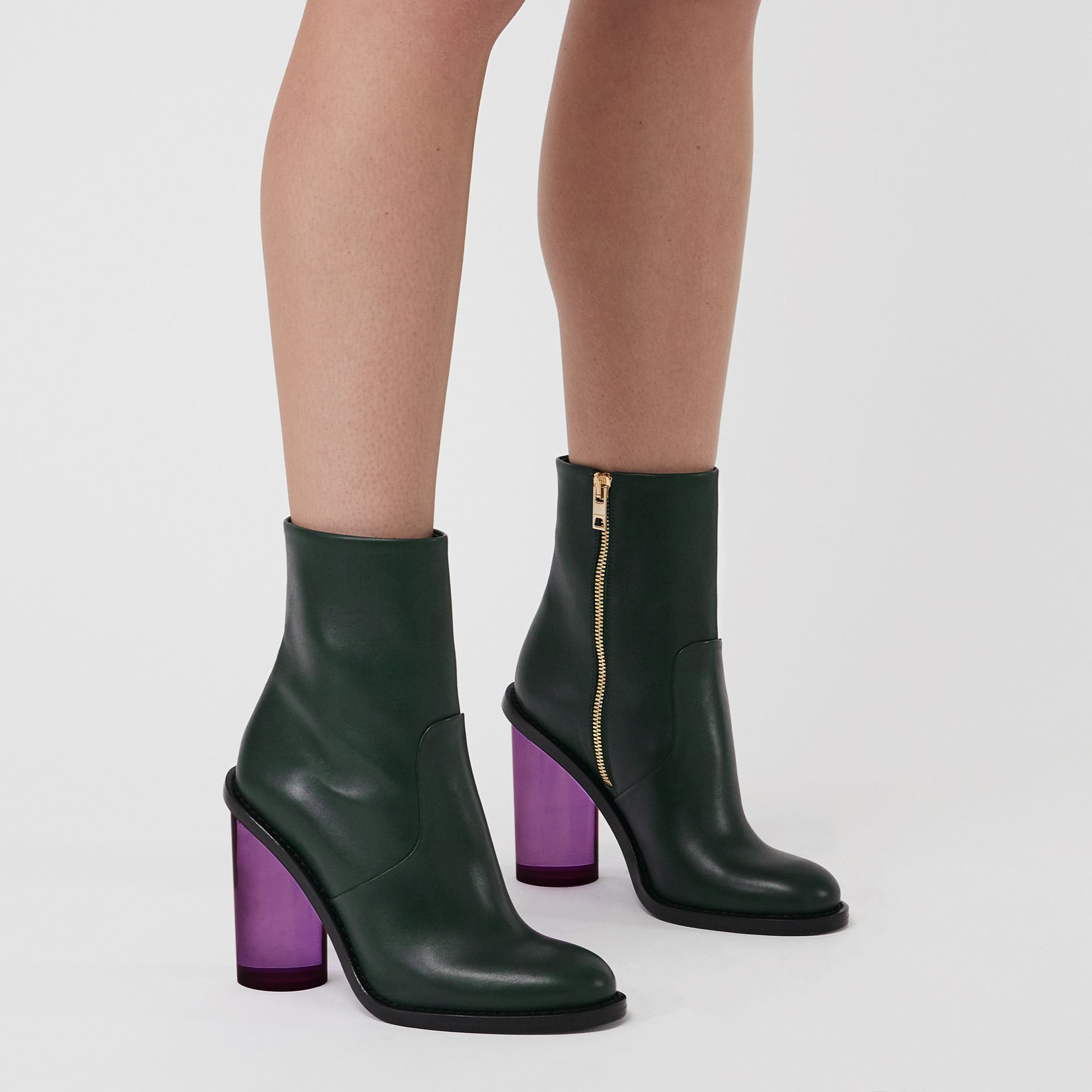 Two-tone Leather High Block-heel Boots in Dark Forest Green - Women | Burberry United Kingdom - gallery image 2