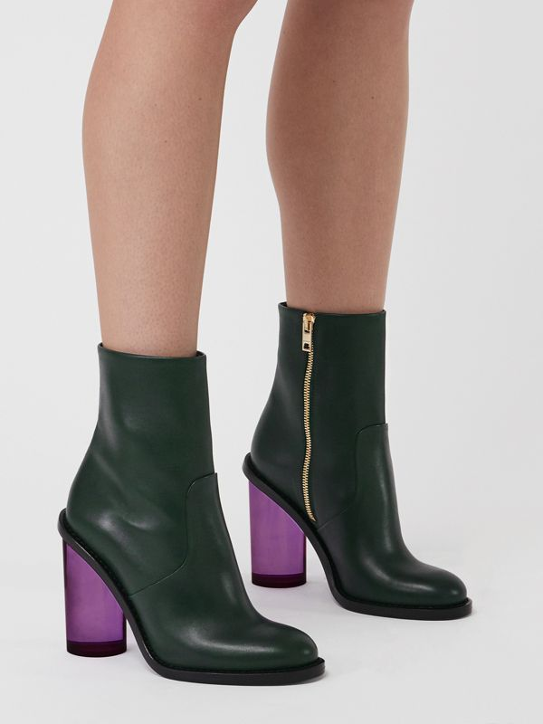 Two-tone Leather High Block-heel Boots in Dark Forest Green - Women | Burberry - cell image 2