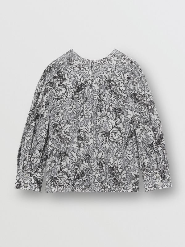 Floral Print Cotton Silk Blouse in Grey | Burberry - cell image 3