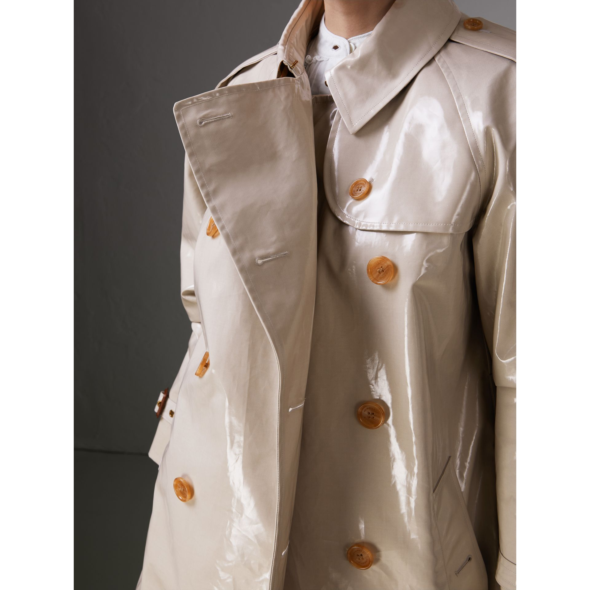 Raglan-sleeve Laminated Gabardine Trench Coat in Stone - Women | Burberry - gallery image 1