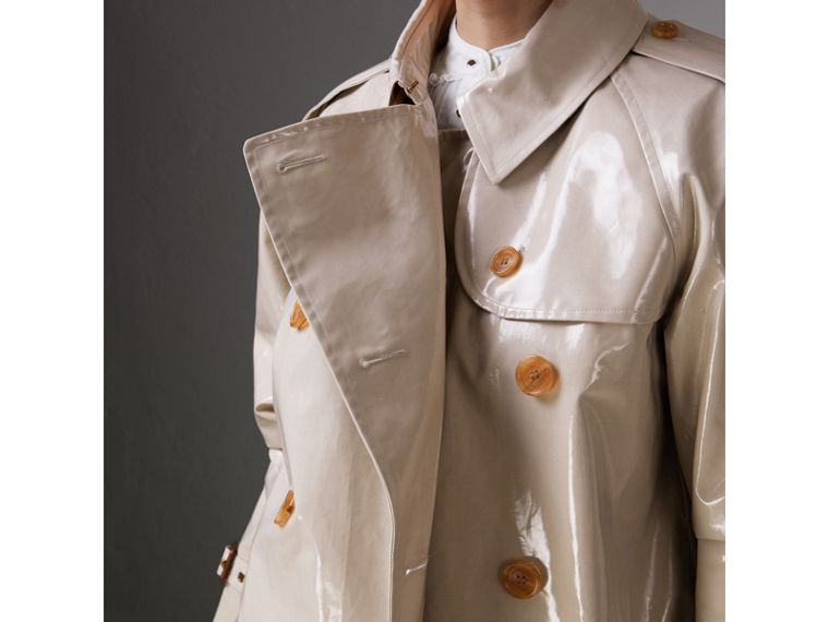 Raglan-sleeve Laminated Gabardine Trench Coat in Stone - Women | Burberry - cell image 1