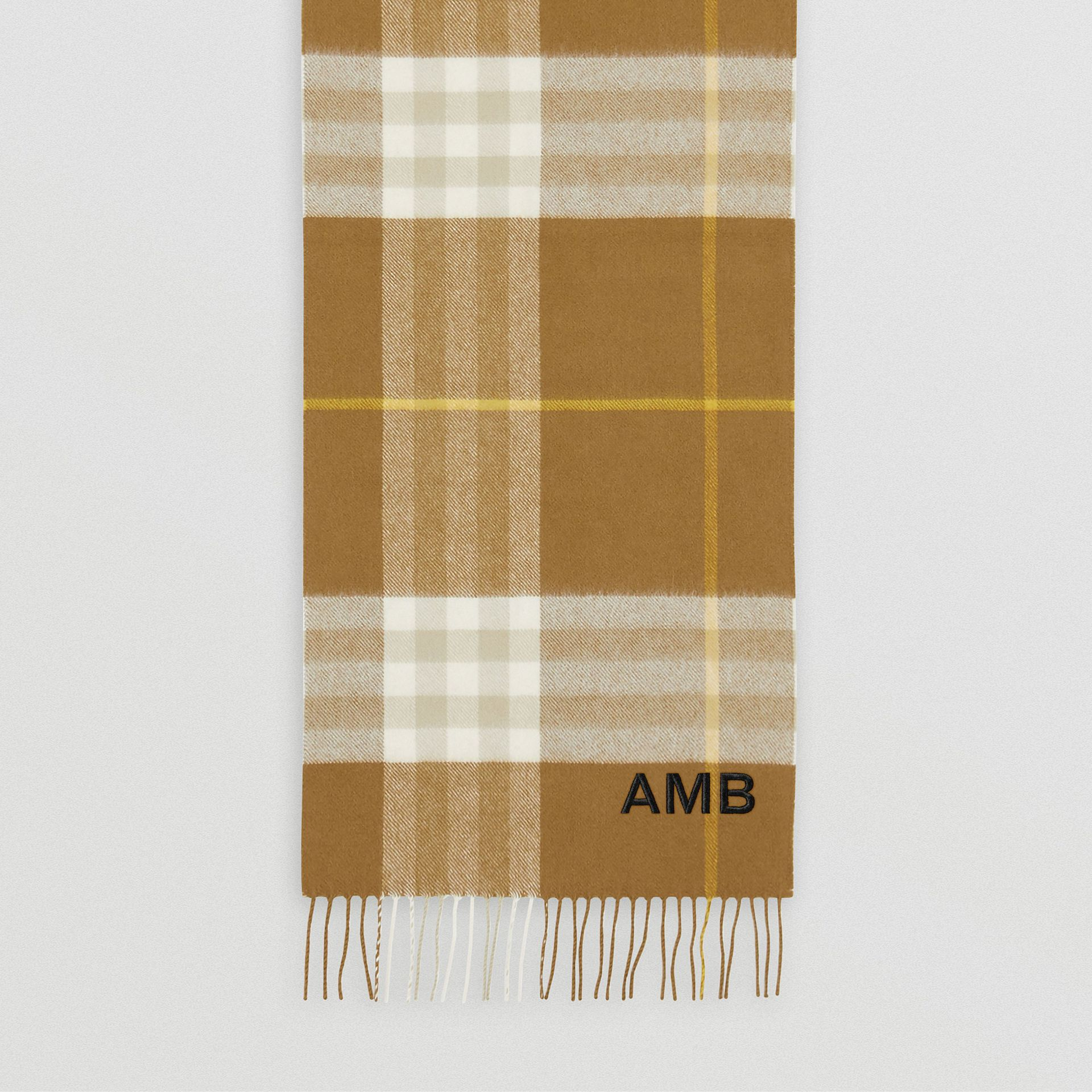 The Classic Check Cashmere Scarf in Deep Olive | Burberry - gallery image 8
