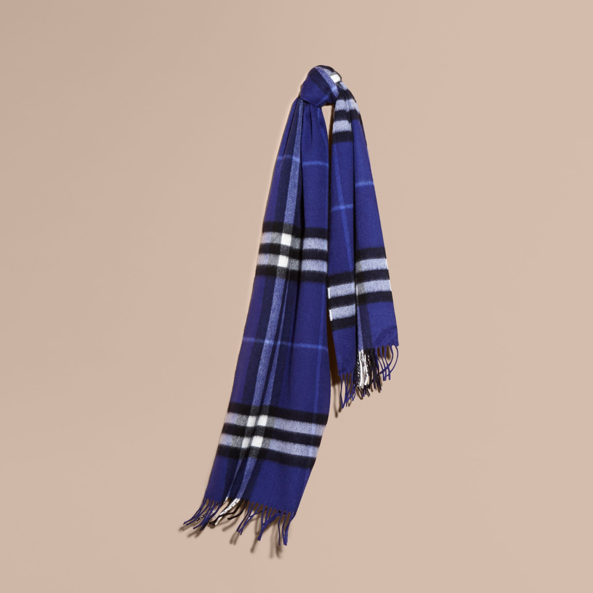 The Classic Cashmere Scarf in Check  in Bright Sapphire - gallery image 6