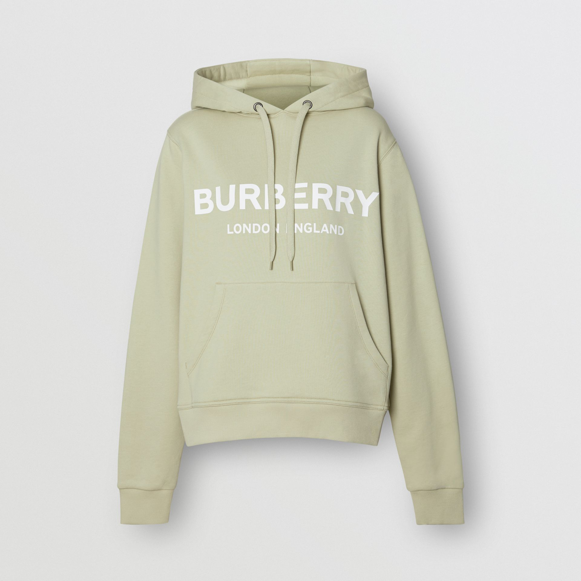 Logo Print Cotton Oversized Hoodie in Pale Apple Green - Women | Burberry United Kingdom - gallery image 3