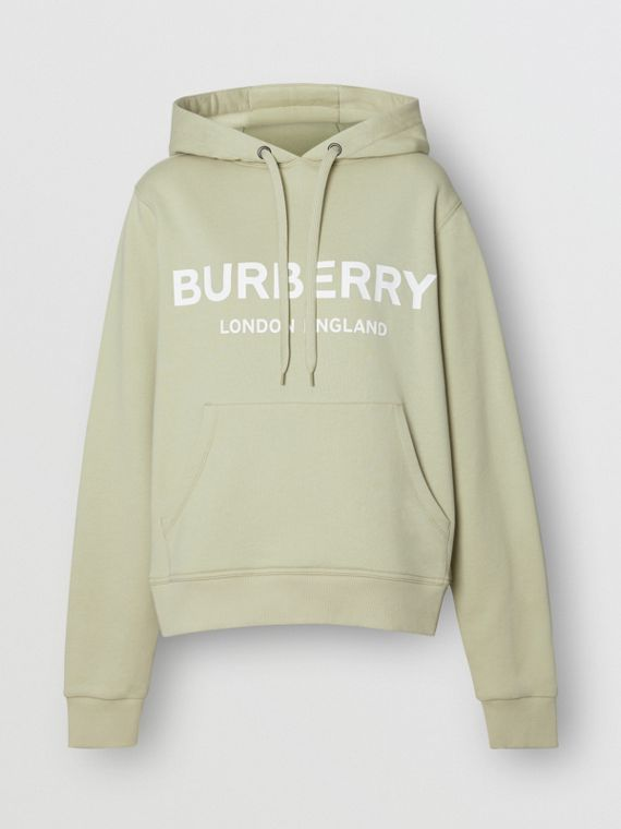 Logo Print Cotton Hoodie in Pale Apple Green