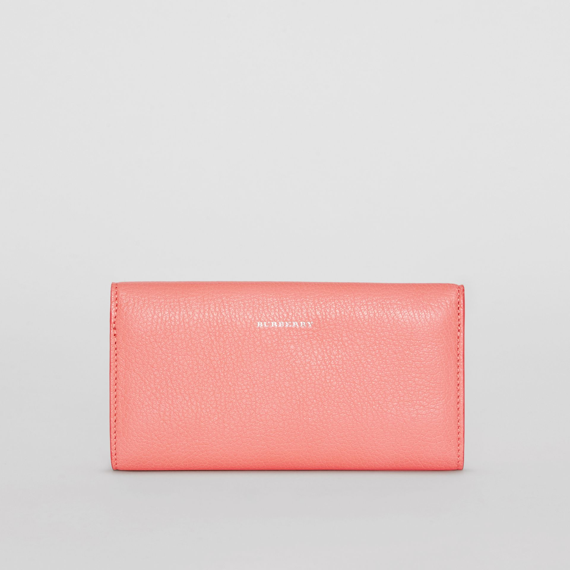 D-ring Grainy Leather Continental Wallet in Bright Coral Pink - Women | Burberry United Kingdom - gallery image 2