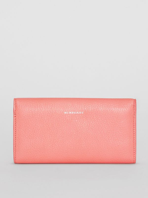 D-ring Grainy Leather Continental Wallet in Bright Coral Pink - Women | Burberry United Kingdom - cell image 2