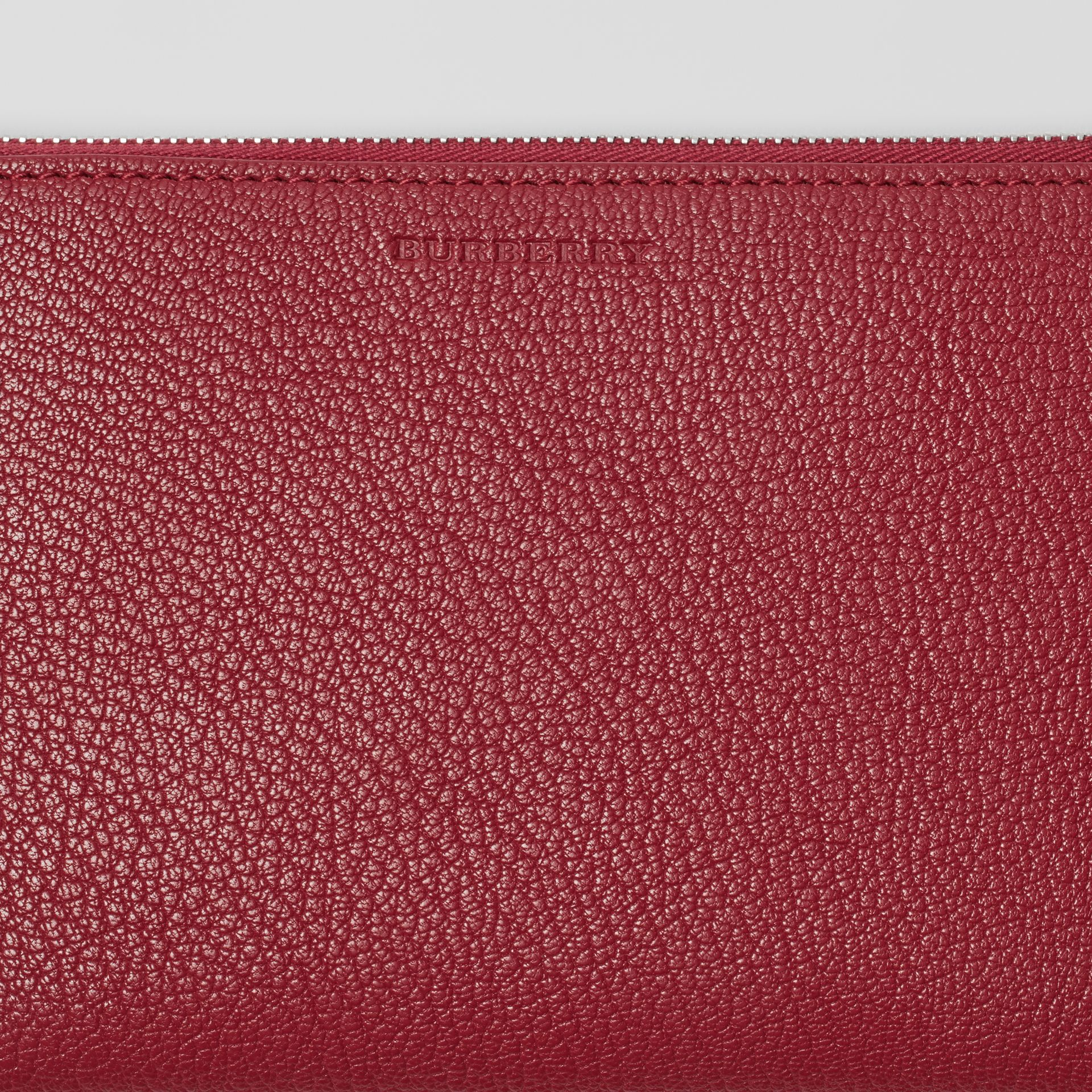 Two-tone Grainy Leather Travel Wallet in Crimson - Women | Burberry - gallery image 1