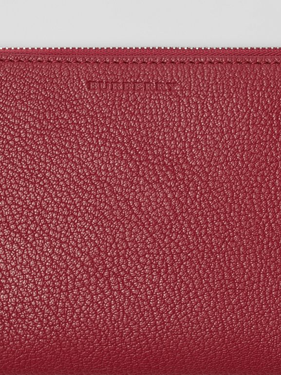 Two-tone Grainy Leather Travel Wallet in Crimson - Women | Burberry - cell image 1