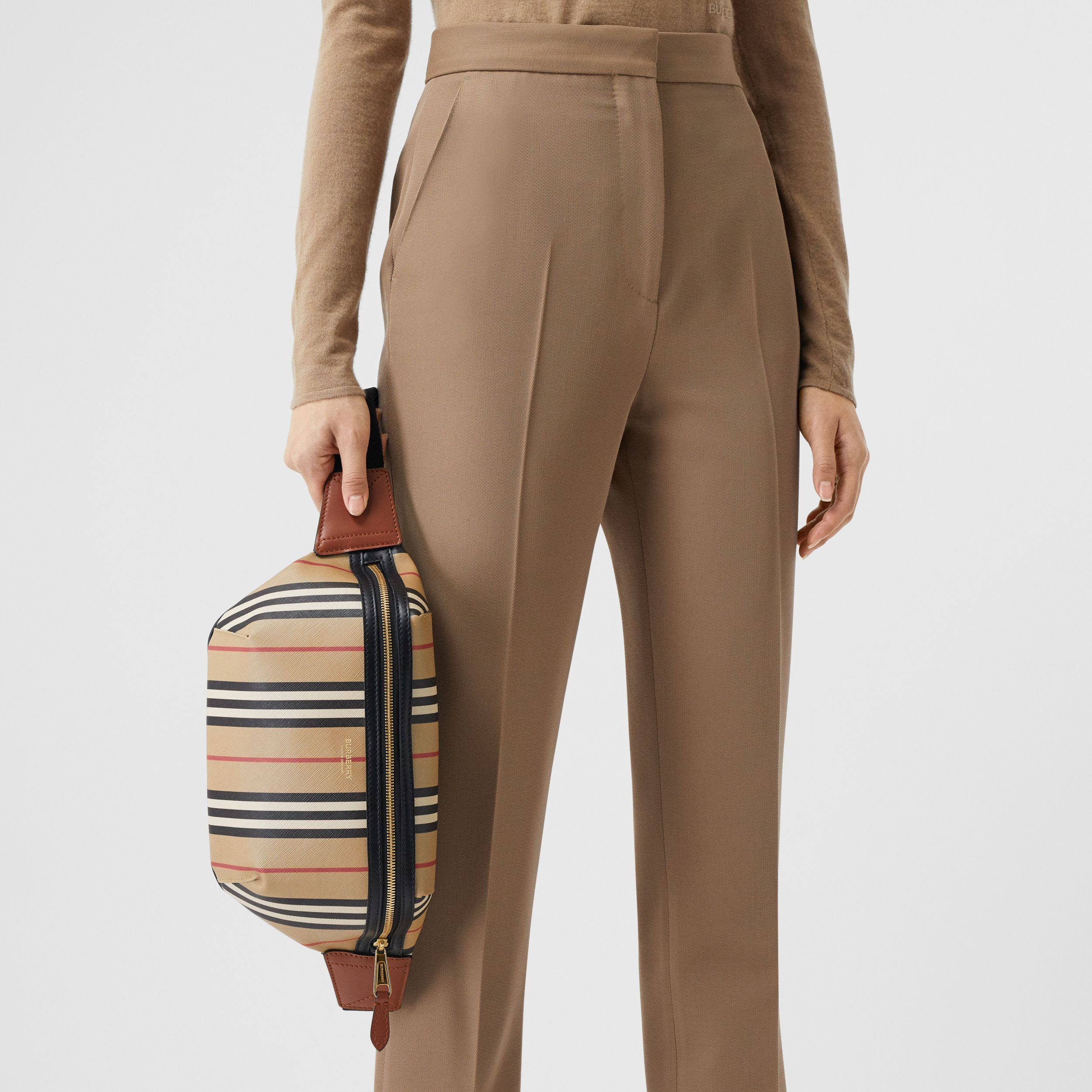 Icon Stripe E-canvas Sonny Bum Bag in Archive Beige | Burberry - 3
