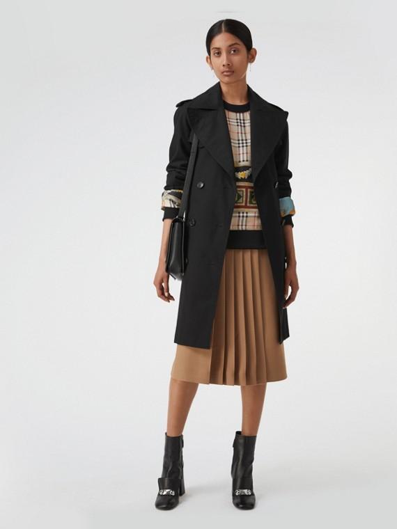 Trench coat en algodón de gabardina con maxisolapas (Negro)