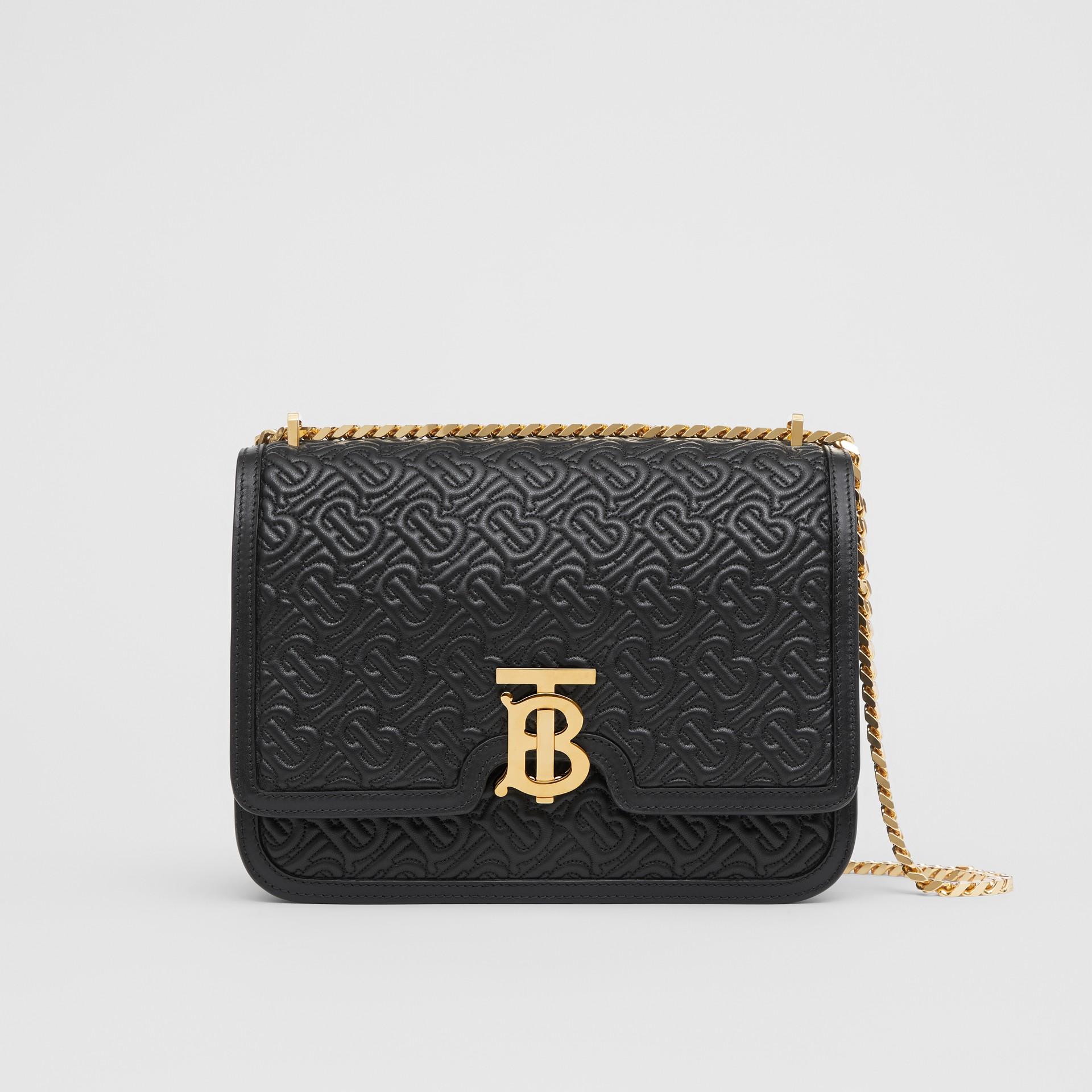 Medium Quilted Monogram Lambskin TB Bag in Black - Women | Burberry - gallery image 0