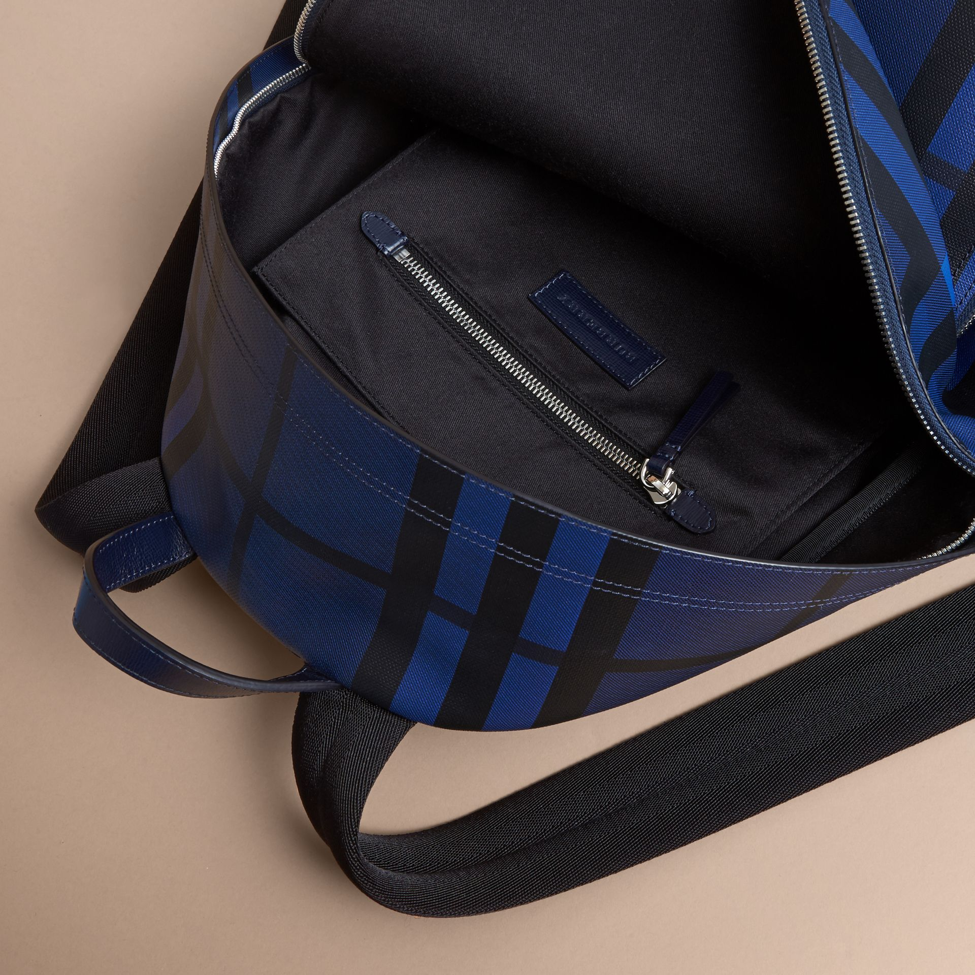 Leather Trim London Check Backpack in Bright Lapis - Men | Burberry - gallery image 5
