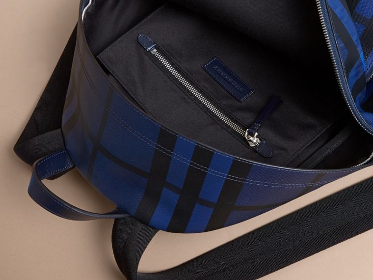 Leather Trim London Check Backpack in Bright Lapis - Men | Burberry - cell image 4