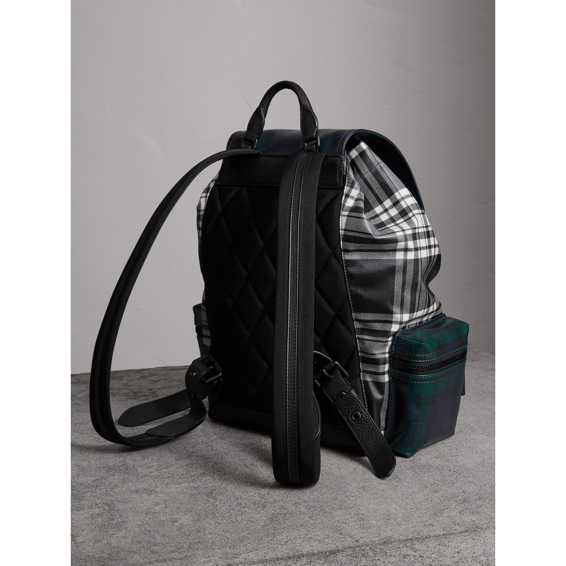 The Large Rucksack in Laminated Tartan in Black/white - Men | Burberry - gallery image 2