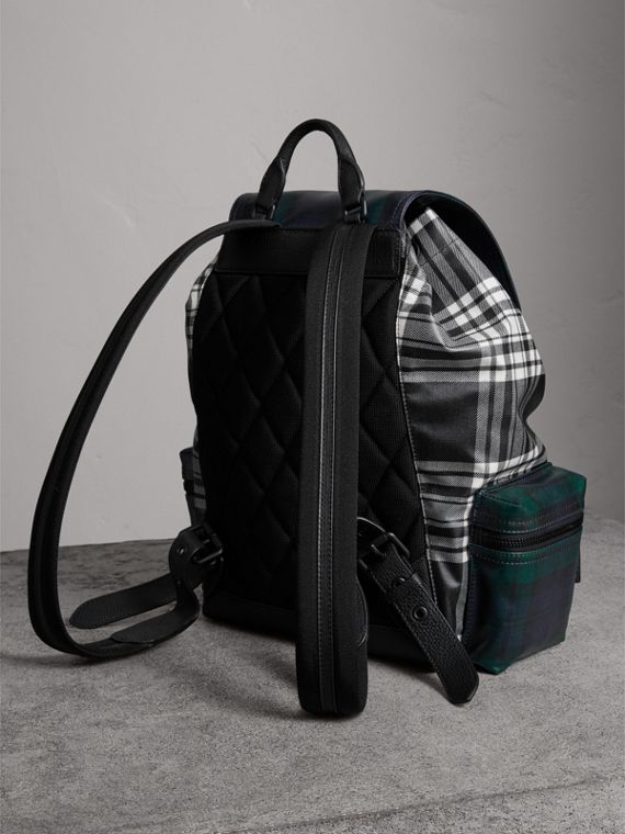 The Large Rucksack in Laminated Tartan in Black/white - Men | Burberry Singapore - cell image 2