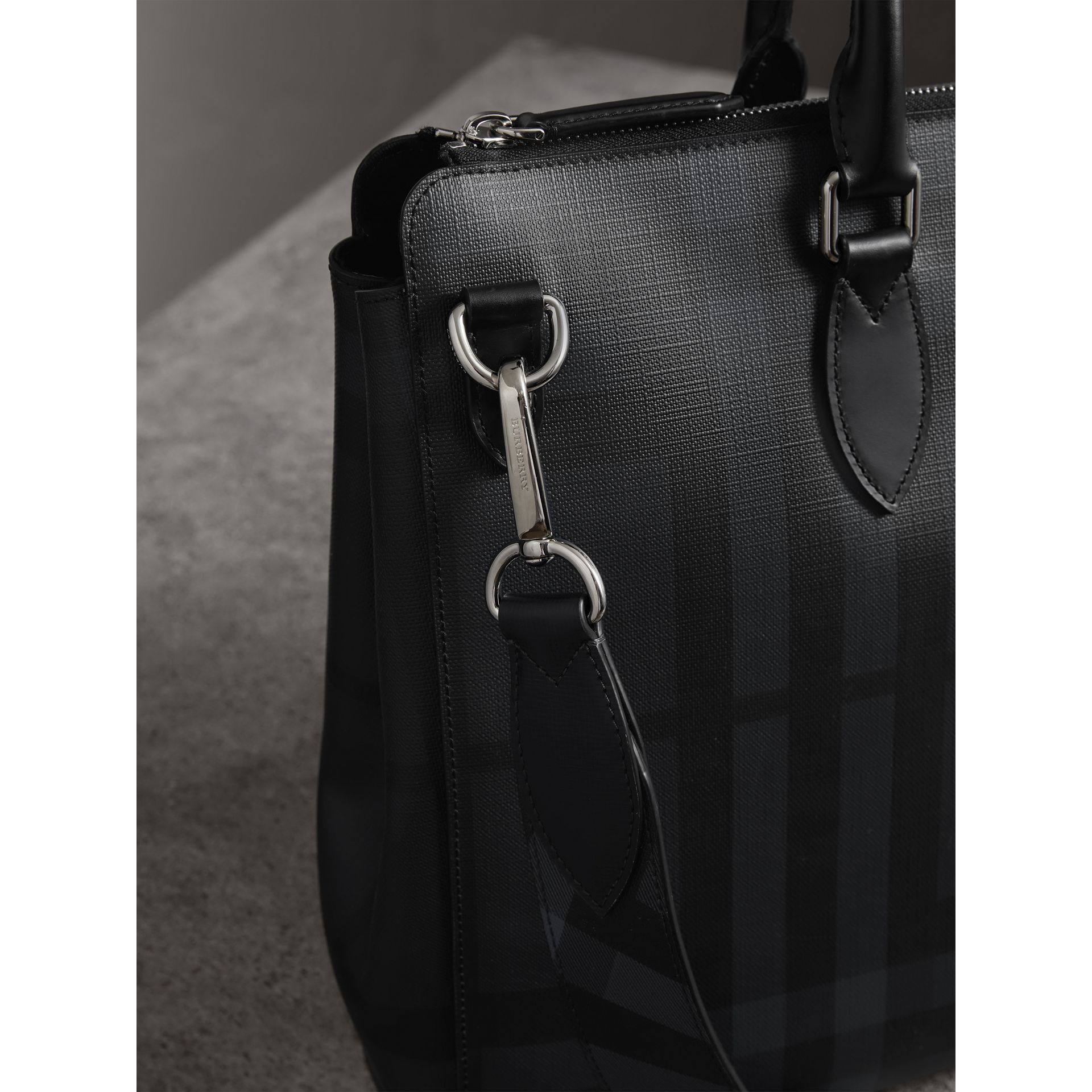 Large London Check Briefcase in Charcoal/black - Men | Burberry United Kingdom - gallery image 1