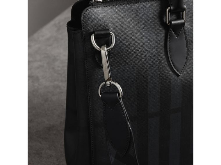 Large London Check Briefcase in Charcoal/black - Men | Burberry United Kingdom - cell image 1