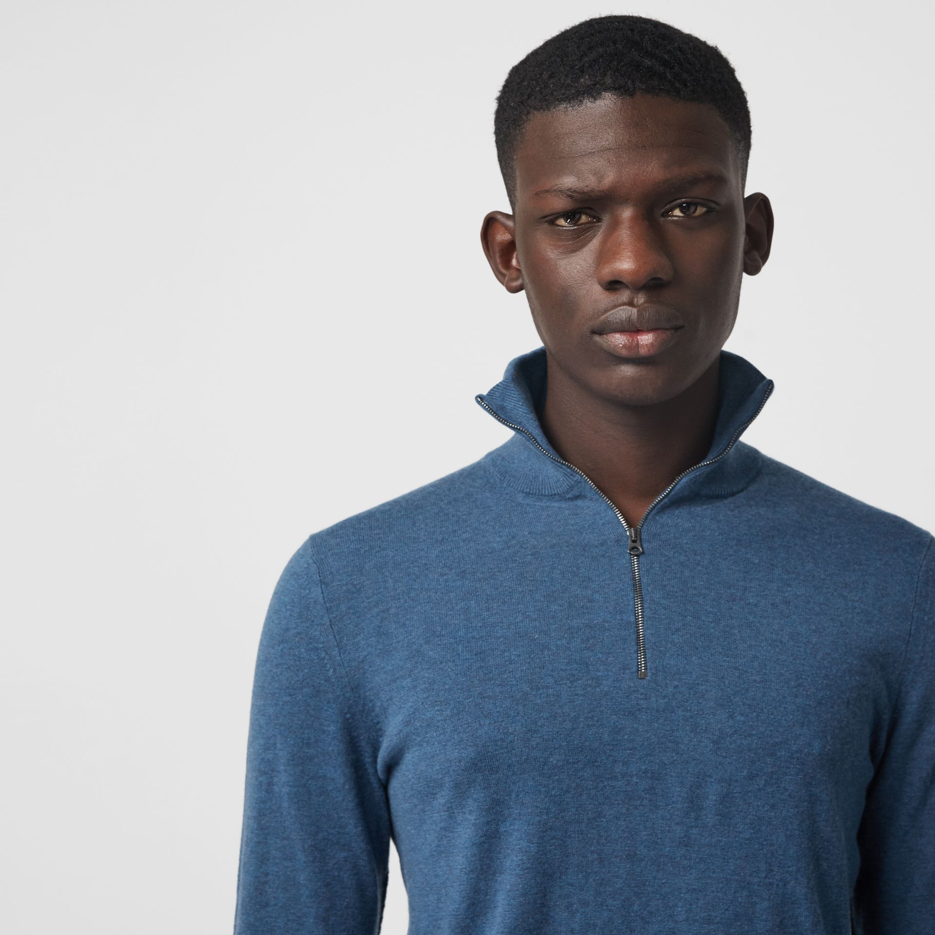 Zip-neck Cashmere Cotton Sweater in Steel Blue - Men | Burberry United States - gallery image 4