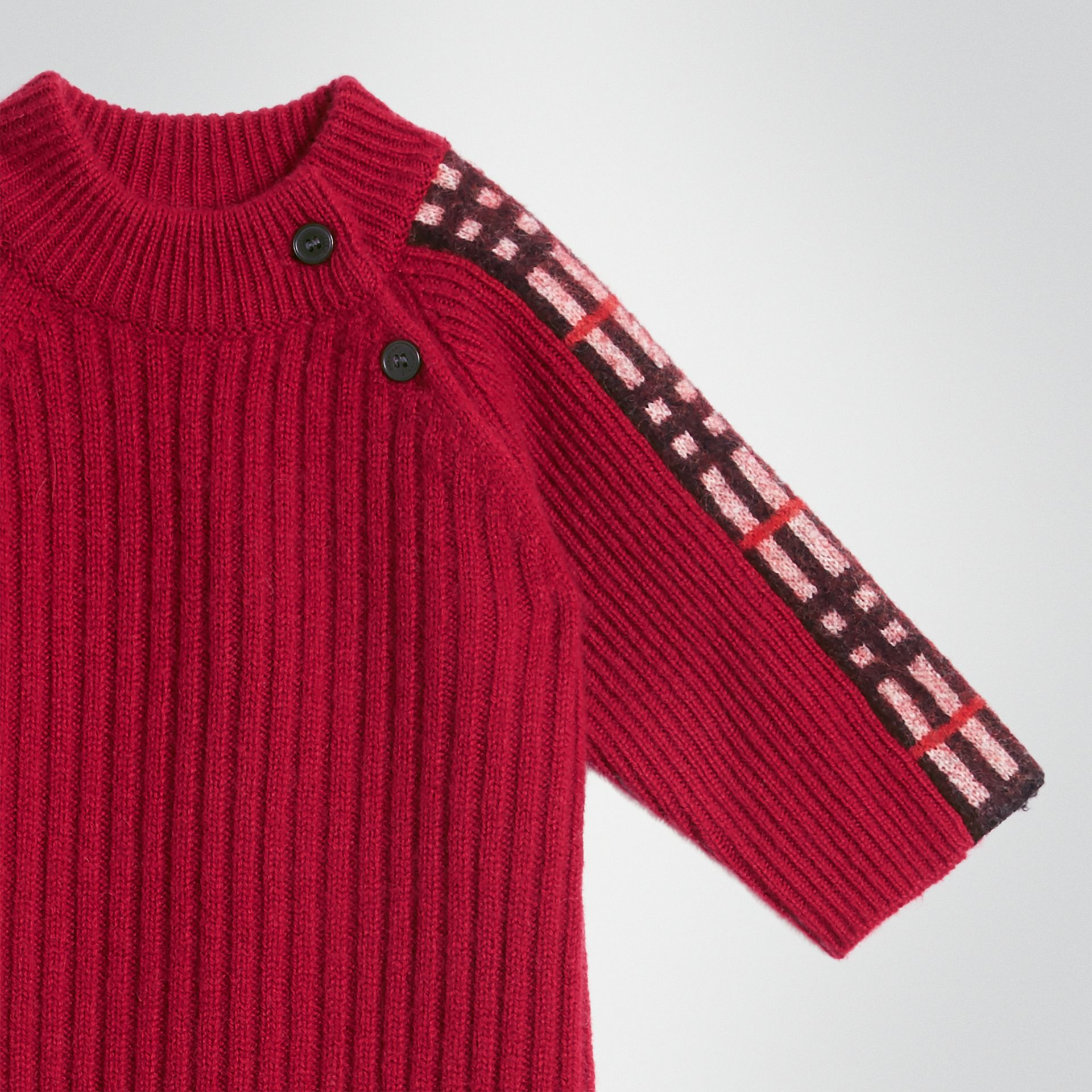 Check Detail Cashmere Jumpsuit in Burgundy Red - Children | Burberry United States - gallery image 4