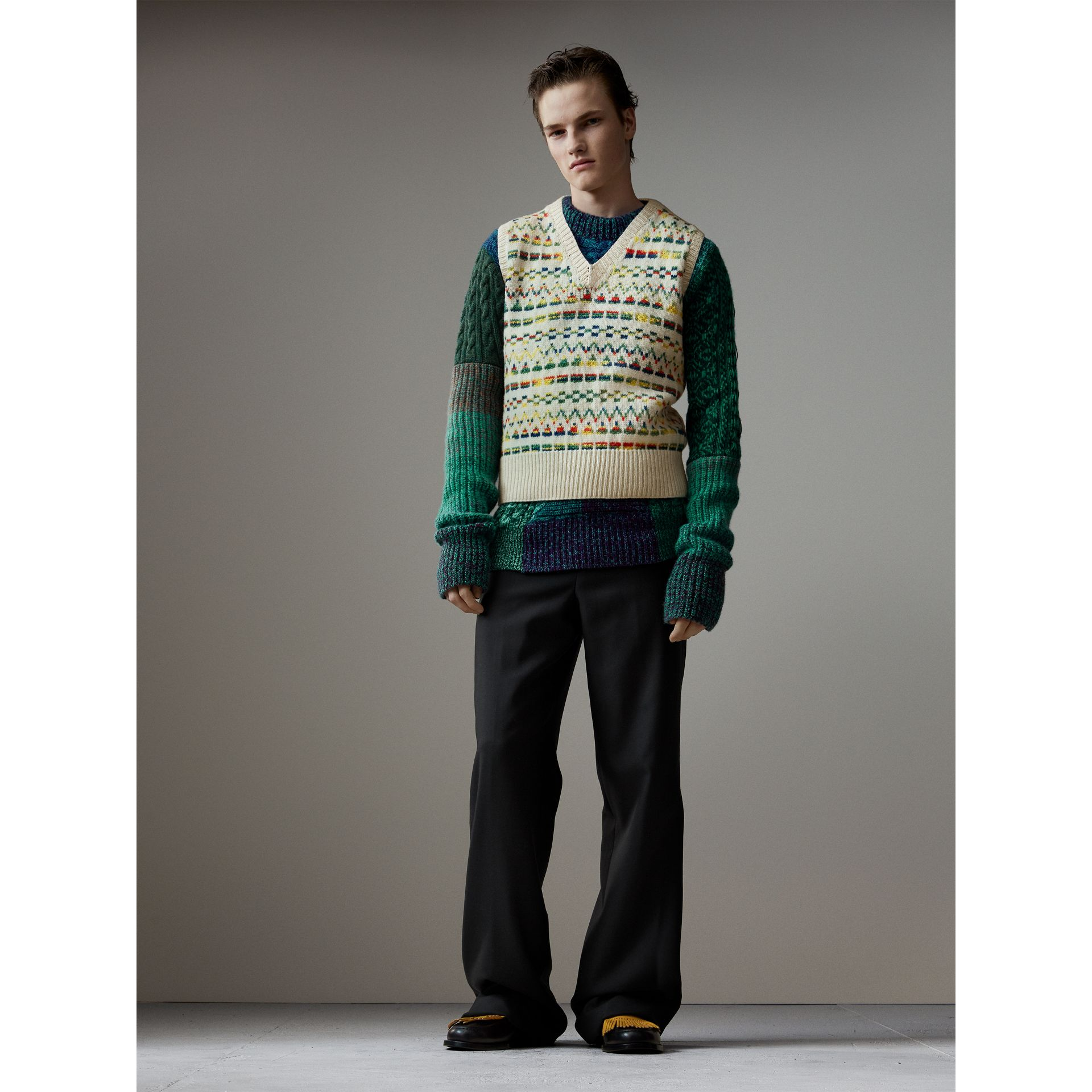 Cashmere Wool Mouliné Patchwork Sweater in Hydrangea Blue - Men | Burberry - gallery image 6