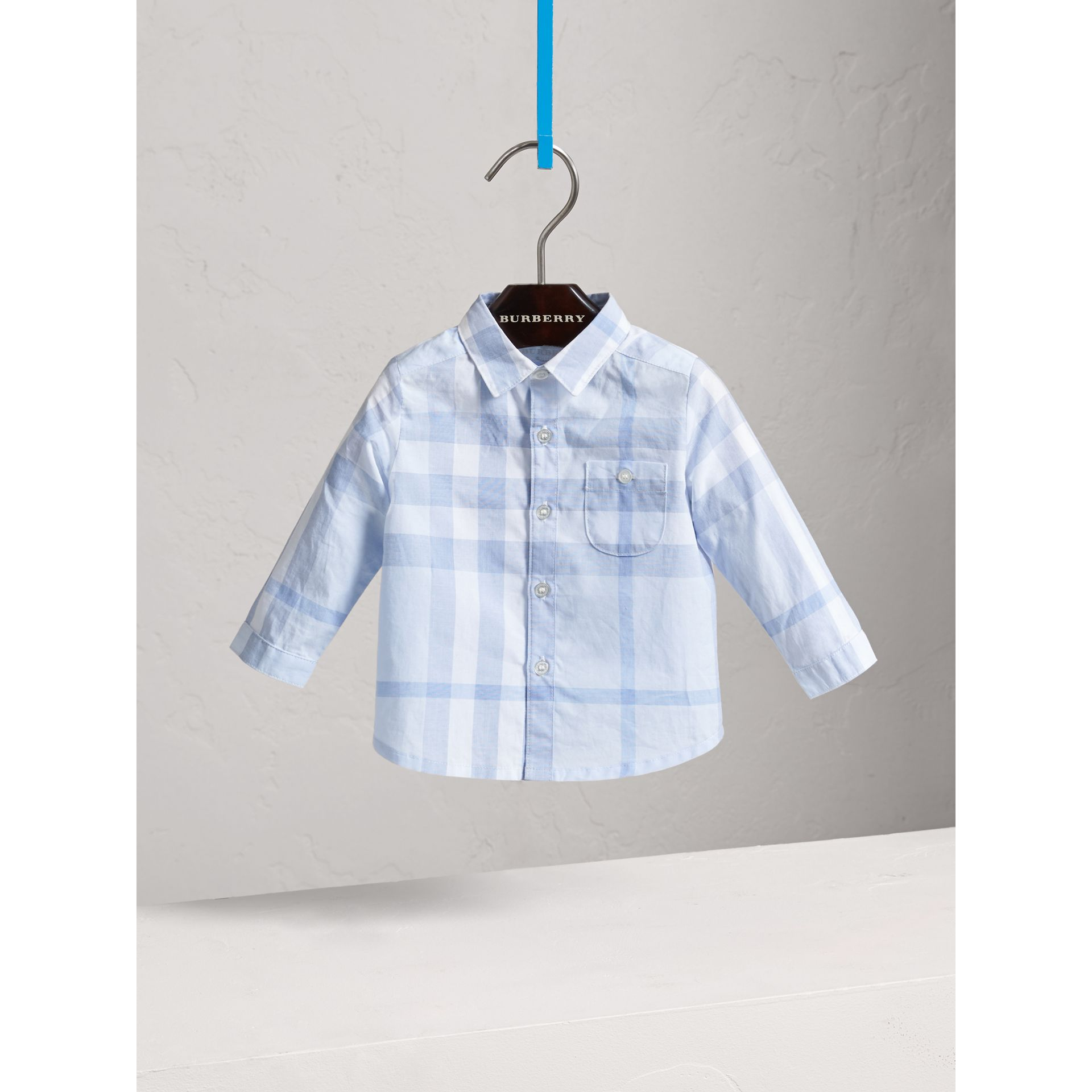 Washed Check Cotton Shirt in Ice Blue - Children | Burberry - gallery image 0