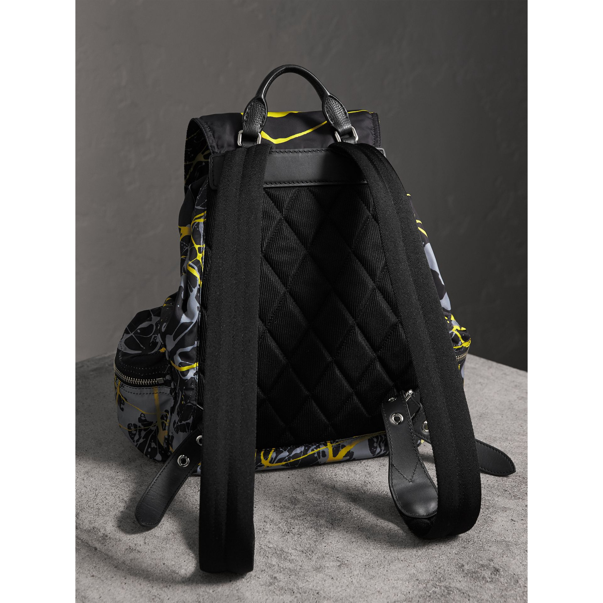 The Large Rucksack in Splash Print in Black/yellow - Men | Burberry - gallery image 3