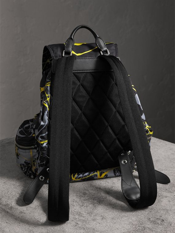 The Large Rucksack in Splash Print in Black/yellow | Burberry Australia - cell image 2
