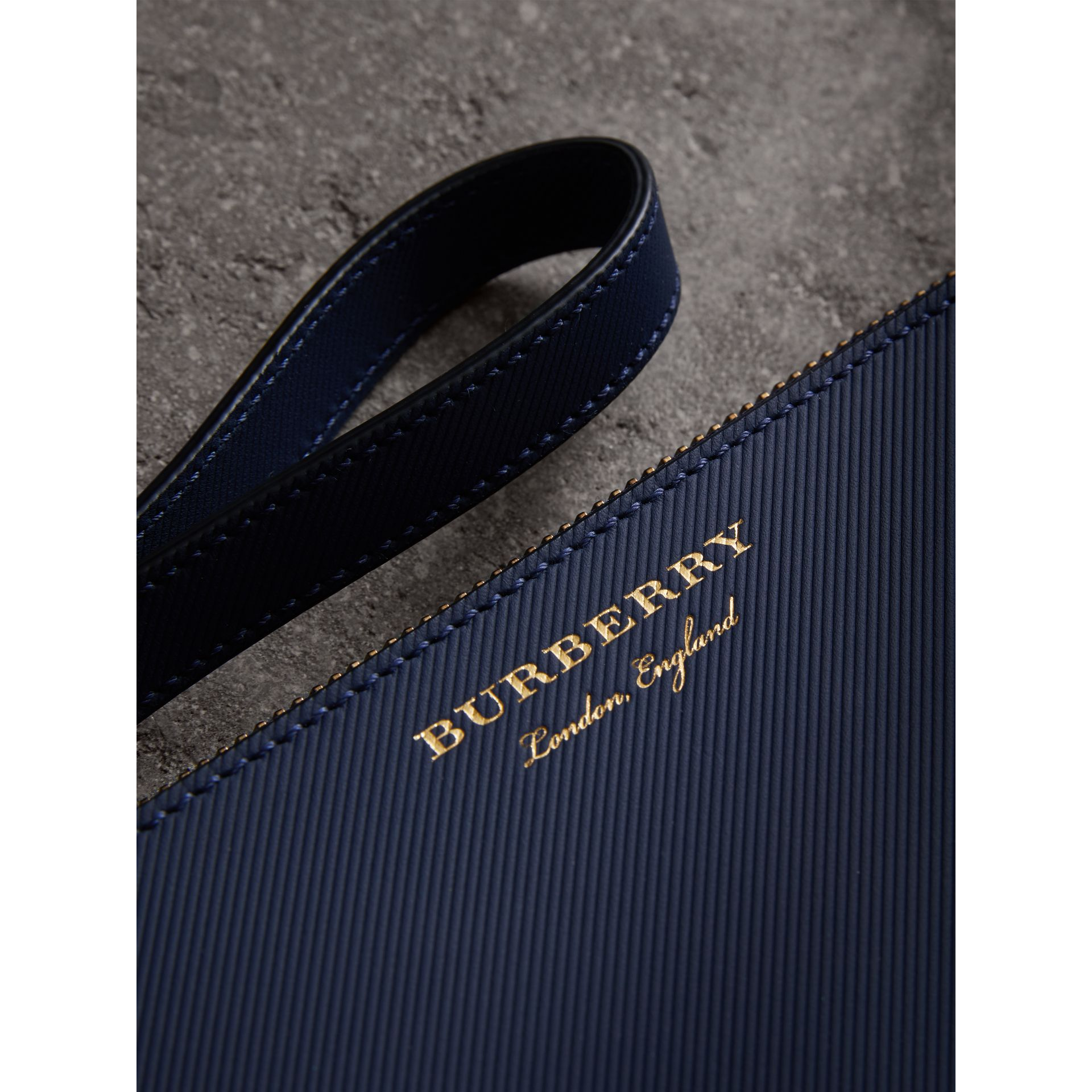 Two-tone Trench Leather Travel Wallet in Ink Blue | Burberry - gallery image 1
