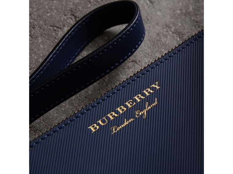 Two-tone Trench Leather Travel Wallet in Ink Blue - Men | Burberry - cell image 1