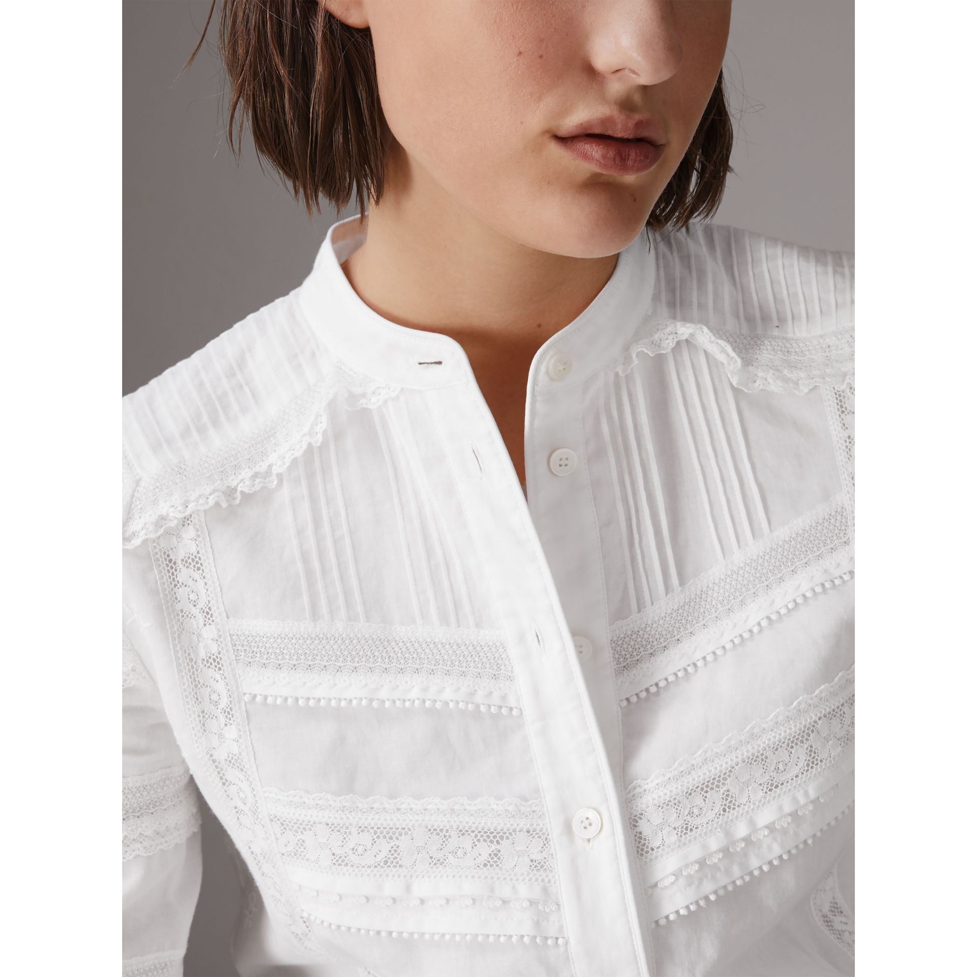 English Lace Detail Cotton Voile Shirt Dress in Off White - Women | Burberry - gallery image 2