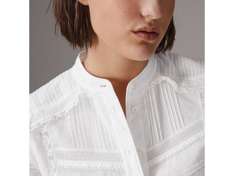 English Lace Detail Cotton Voile Shirt Dress in Off White - Women | Burberry - cell image 1