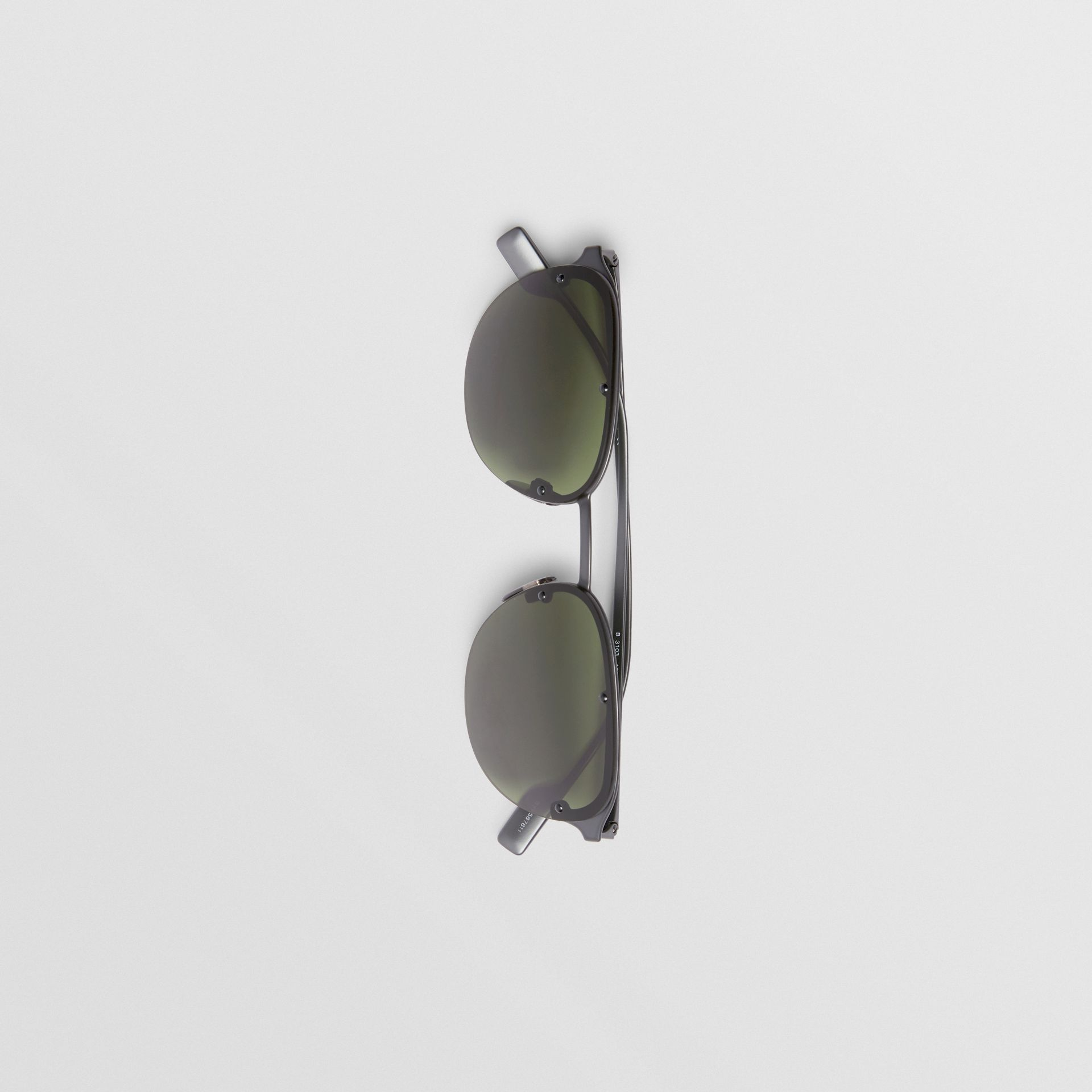 Round Frame Sunglasses in Green - Men | Burberry - gallery image 3